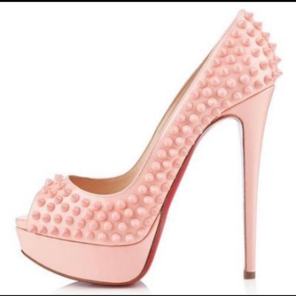 161279f1e22 Christian Louboutin Peep Toe Baby Pink Spike Pumps